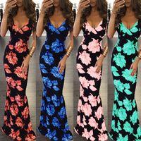 La flor imprimió los vestidos maxi Backless para las mujeres, ropa de la fábrica de China del stocklot del precio bajo al por mayor