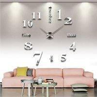 Wholesale new home decorations acrylic mirror wall clock living room quartz needle watch Stickers clocks modern design