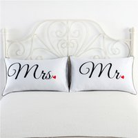 Wholesale Fancy Pattern Mr Mrs White Couples Pillowcase Superior Polycotton Digital Printing Pillow Case For Wedding Valentine s Gift