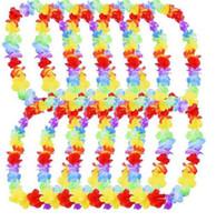 beach baskets - 500pcs Hawaiian leis Party Supplies Garland Necklace Colorful Fancy Dress Party Hawaii Beach Fun