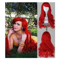 Wholesale 100 Brand New High Quality Fashion Picture full lace wigs gt Little Mermaid Ariel Wig Wavy Cosplay Wig Synthetic Long Red Curly Costume Wigs