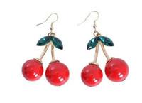 Red acrylic fruit plate - Frozen Cherry Dangle earrings Lovely Red Fruit Ear Stud Crystal Rhinestone Women Fashion Charm Earrings Party Wear