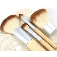 bamboo shorts - 2016 fashion Pro Cosmetic Brush set Bamboo Short Handle Synthetic hair Makeup Brushes Kit With Canvas bag free shipment