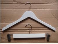 Blanc couleur solide crochet en bois avec anti-dérapant sans barres transversales pour les femmes manteau costume vêtements Racks 38cm 44cm pour le placard de bureau à domicile