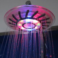 Wholesale 6 inch New Colorful Handheld Automatic Control multi Colors Changing LED Light Water Home Bathroom Shower Bath Head Glow