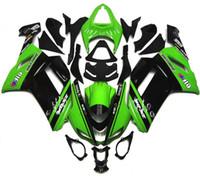 achat en gros de plastiques zx6r-Nouveaux kits de carénage en plastique pour moto de vélo en plastique pour kawasaki Ninja ZX6R ZX-6R 636 2007 2008 07 08 6R Set de carrosserie couleur noir vert