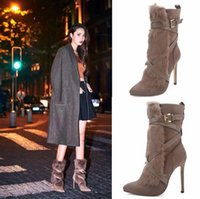 american ankle boots - New the autumn winter boots European and American wind sexy high heeled short canister boots in waterproof Martin boots