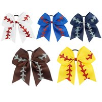 baseball holders - 7 quot Large Softball Team Baseball Cheer Bows Handmade Yellow Ribbon and Red Glitter Stiches with Ponytail Hair Holders for Cheerleading Girls