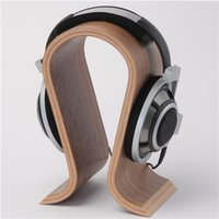 Wholesale Classic Walnut Finish Wooden Headphone Headset Earphone Stand Holder Hanger Wooden Headphone Stand Holder for Earphone Headset
