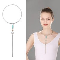 Wholesale Silver Hoop Choker - Ladies Womens Fashion Hoop Circle Choker Necklace Chain Tassel Turquoise Pendant Bib Statement Necklace Charms Jewelry