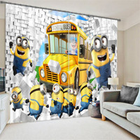 Wholesale Small yellow NPC eye Meng super children like three dimensional printing black out curtains cartoon blackout curtains