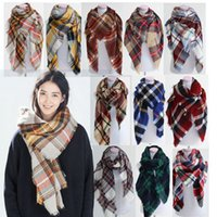 basic acrylic - New colors Winter New Tartan Scarf Plaid Blanket Scarf New Designer Unisex Acrylic Basic Shawls Women s Scarves Big Size CM