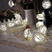 Wholesale Lily s Gift LED Warm White Rose Flower Fairy String Lights Clear Cable Battery Powered for Valentine s Wedding Bedroom Indoor Decoratio