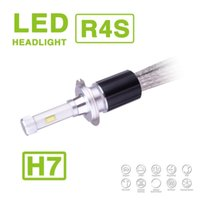 Wholesale 1 Set H7 R4S W LM LED Headlight Auto Super Slim Conversion Kit Single Beam Driving Fog Lamp Bulb W LM Replace HID Xenon Halogen