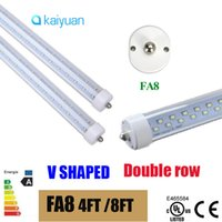 T8 35W SMD 2835 T8 LED Tube Light FA8 single pin 8ft 6FT 5FT 4FT 1.2M-2.4m V Shape Double Glow Light For cooler door AC85-2 led lighting fluorescent lamp