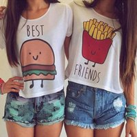 best fast printing - Girl Best Friends Eyelash Lip Crop Tops Summer Round Neck Short Sleeve T Shirts In Stock Fast Ship