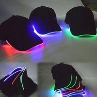 Casquillo negro España-LED Gorras de béisbol luces Glow Club Party Sports Típico negro de viaje de tela Cap Hat para adultos luminosos 3 colores disponibles XL-T105