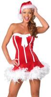 bar one clothing - Santa Claus s clothes Christmas plush terry bra princess dress one bar Christmas show singer uniform temptation M1010