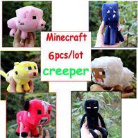 achat en gros de minecraft vidéo-6pcs / lot Minecraft Plush Jouets Minecraft Sheep Enderman Squid Ocelot Porc Soft Peluche Toy Parfait Minecraft Stuffed Doll Enfants Cadeau