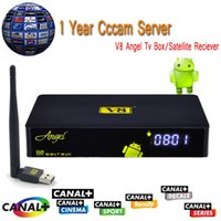 android angels - Year Europe Cccam Cline DVB T2 V8 Angel Satellite Receiver Android Smart Tv Box HDMI Spain Italy Cccam Server PC USB WIFI