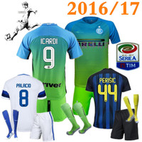 Wholesale Adult suit and sock Inter home away jersey CANDREVA EDER ICARDI JOVETIC Milan shirts football uniforms Maillot de foot