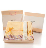 rectangle benefit gift set - Wholesale cm cotton advertising gifts towel gift box three sets of plain bath towel business benefits