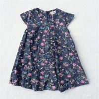 achat en gros de filles blouse col haut-Girls Denim Flower Shirts Bébé vêtements 100% coton de haute qualité Kids à manches courtes vêtements Blouses de mode O-cou enfants Tops 9M-36M