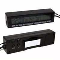 Wholesale 3in1 V Digital LCD Screen Car Battery Voltage Meter Clock Outdoor Indoor Car Thermometer Ice Alert Alarm Hourly Chime