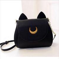 Wholesale 2017 New Summer Limited Sailor Moon Chain Shoulder Bag Ladies Luna Cat PU Leather Handbag Women Messenger Crossbody Small Bag