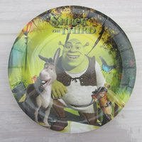 Precio de Tercero-Venta al por mayor-Shrek el tercer tema de la película de carácter Niño niños de cumpleaños Decorativas de papel del partido placa de 7 pulgadas de impresión de placas redondas * 10pcs