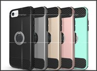 For Apple iPhone Black Fitted Case Stand Carbon Fiber Hybrid Shockproof Case With Finger Ring For iPhone 7 I7 Plus iphone 6 6S Two in One Hard PC Phone Case Protection Shell