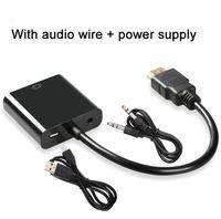Le plus récent HDMI de haute qualité à VGA adaptateur convertisseur câble adaptateur numérique à analogique câble audio vidéo pour ordinateur PC tablette de bureau