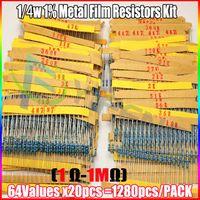 Venta al por mayor-1280pcs Resistor Kit 0.25W 64values X 20pcs Resistencias Resistor Pack Resistencia de película de metal 1 Ohm - 10M Ohm 1 / 4W Metal Set de Película