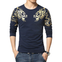 Men atmosphere size - Autumn new high end men s brand t shirt fashion Slim Dragon printing atmosphere t shirt Plus size long sleeved t shirt men