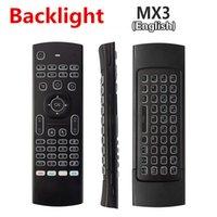al por mayor control remoto aprender-Más nuevo MX3 Air Mouse Backlight MX3 Teclado inalámbrico 2.4G de control remoto IR Aprendizaje Fly Air ratón retroiluminado para Android TV Box PC