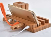 apple buckets - Wholesales For Apple Watch iwatch iPhone iPAD Multiple Bamboo Charging Station Stand Dock Bucket Wood Phone Holder For iPhone Plus S
