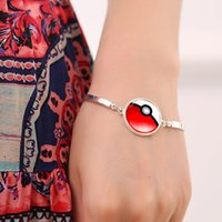 Wholesale 7 Colors Glass Cabochon Poke Bangle Fashion Summer Style Time Gemstone Bangles Chain Vintage Silver Tone Jewelry for Women Girls