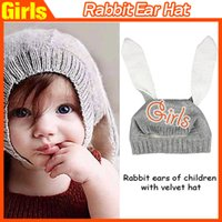 Cheap 2016 New Cute Rabbit Long Ear Hat Baby Girls Boys Autumn Winter Warm Knitted Hat Soft Crochet Baby Bunny Hat Baby Bonnet free shipping