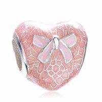al por mayor arco pandora-2017 Auténtica plata de ley 925 arco de encaje corazón transparente Misty Bead encanto con rosa esmalte Fit Pandora pulsera original Diy
