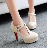 T-Strap femmes pompes 2016Brand épais talon talons hauts chaussures de plate-forme femme blanc chaussures de mariage rose plus la taille 34-43