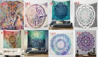 Wholesale Hippy Mandala Tapestry Bohemian Elephant Tapestry Wall Hanging Psychedelic Wall Art Dorm Decor Beach Throw Indian Wall Tapestries styles