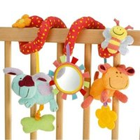 baby cirb - Cartoon Plush Animal Activity Stroller Toys Infant Baby Cirb Prams Hanging Baby Rattle With Teether Newborn Musical Spiral Toys
