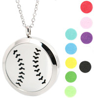 baseballs stainless steel - 1pcs magnet mm cute baseball Aromatherapy Essential Oil surgical Stainless Steel Perfume Diffuser Locket Necklace with chain and pads