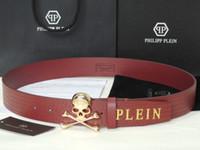Wholesale Top quality Brand Fashion Desinge Classic Belts PPB02 Skulls Buckle Leather Belt Locomotive punk Cool Man Business Authentic Leather