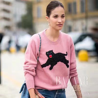 Wholesale 2017 Luxury ladies brand Women high end sequins beaded panther pattern pink sweaters