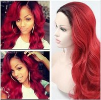 "Cheap Free Shipping>>>20"" 26"" Natural Wavy Red With Black Roots Ombre Lace Front Wig Heat Resistant"