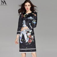 Manches robe imprimée conception du cou Avis-New Arrival 2017 Women's O Neck 3/4 Sleeves Letters Pattern imprimé High Street Design Robes