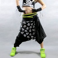 Wholesale Hip Hop Jazz Costume Mid Waist Wide Leg Black Loose Casual Capris Print Skull Women Harem Pants New High Quality