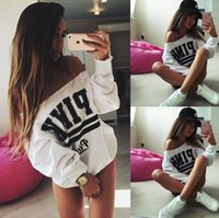 Wholesale Sexy Ladies Long Sleeve Tops Womens Letter Print Pattern Graphic Blouse Casual T Shirt Fashion Tee Sweatshirts Jumper
