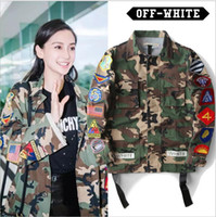 baby camo jacket - BABY High Quality Men s women Justin Bieber Camouflage Off White Cotton stripe Jacket Military Embroidery Camo Off White Coats